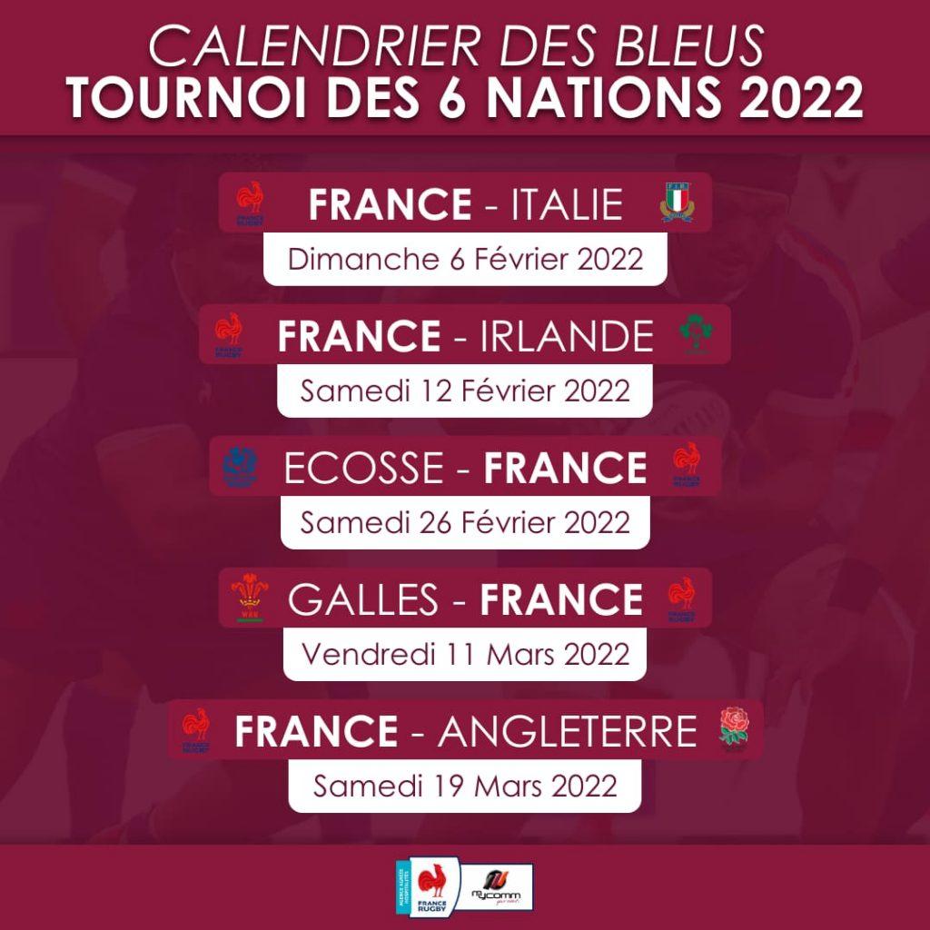 Calendrier Tournoi des 6 Nations 2022